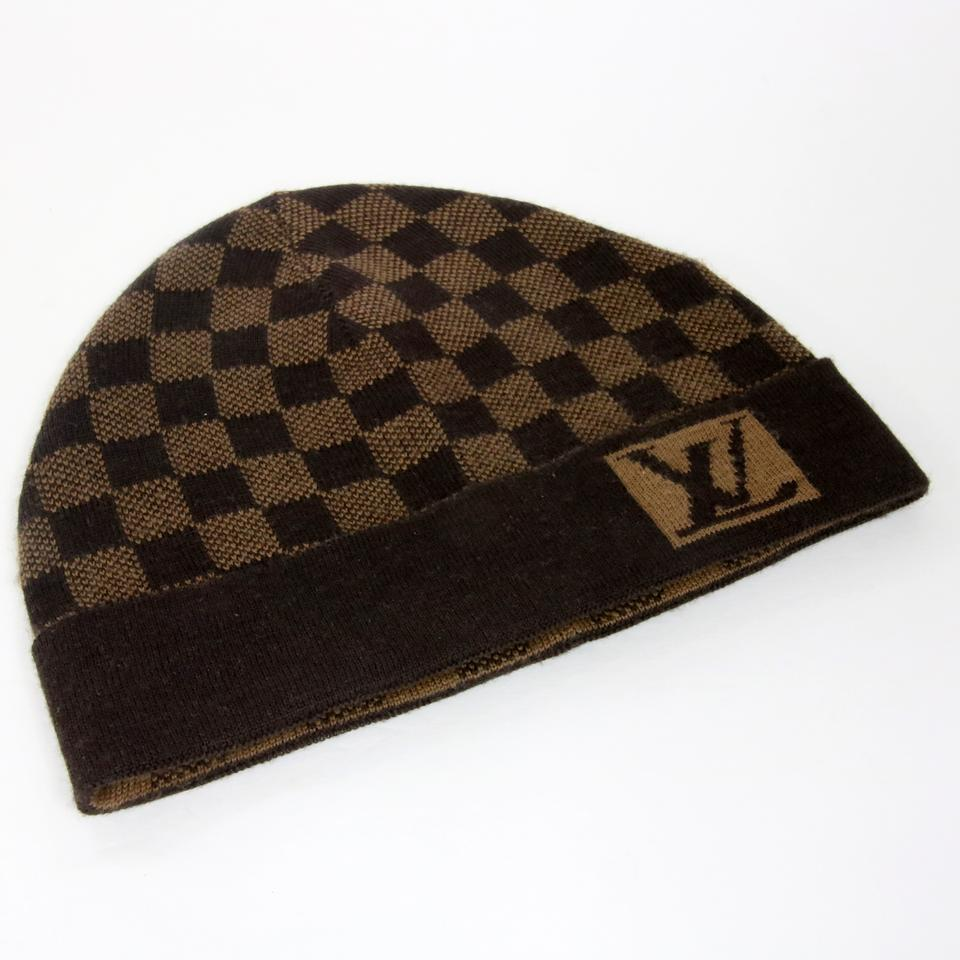 bb006a86726 Louis Vuitton Brown Signature Damier Lv Monogram Wool Beanie Skully ...