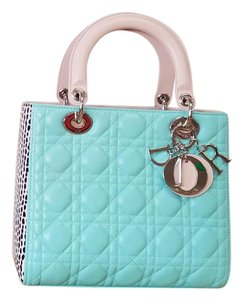Dior Lady Tote in Teal beige black white