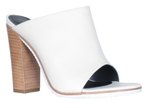 Tibi Wooden Heel Open Toe Leather Ivory Mules