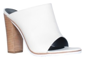 Tibi Leather Wooden Heel Open Toe Brand New Ivory Mules