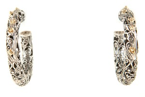 Konstantino Silver And Gold Floral And Swirl Hoop Earrings
