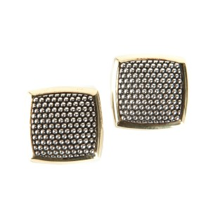 Lagos Silver Dotted Square Earrings With Gold Edging