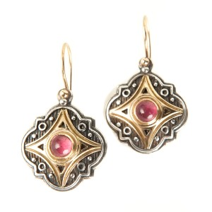Konstantino Silver And Gold Drop Earrings With Pink Gem Stone Center