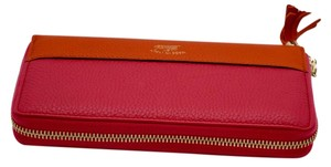 Gucci Gucci bamboo tassel leather zip around wallet in pink/coral
