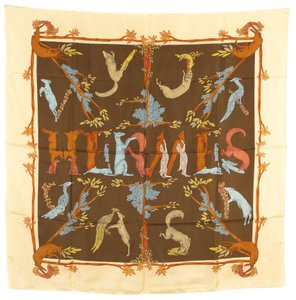 Hermès Yellow And Natural Forest Animal Motif 90cm Square Silk Scarf