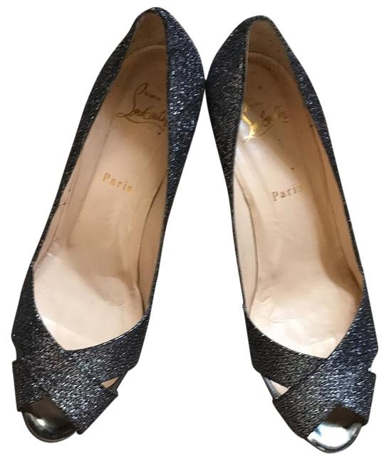 Item - Silver/ Blue Shelley 90 Lady Glittee/ Specchio Formal Shoes Size US 9.5 Regular (M, B)