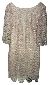 Gianni Bini Nude Tan Cream Sequin Sparkle Dress