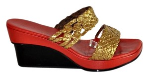Stephane Kelian Black Red Gold Wedges Multi Color Mules