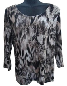 Chico's Animal Print Snakeskin Print Abstract Fall Autumn Top Brown & Beige