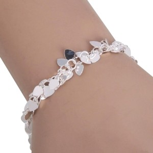 Other Sweet Silver Alloy Dainty Heart Charms on Link Chain Bracelet