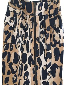 Diane von Furstenberg Dvf Bodycon Skirt Leopard, Blue, Brown