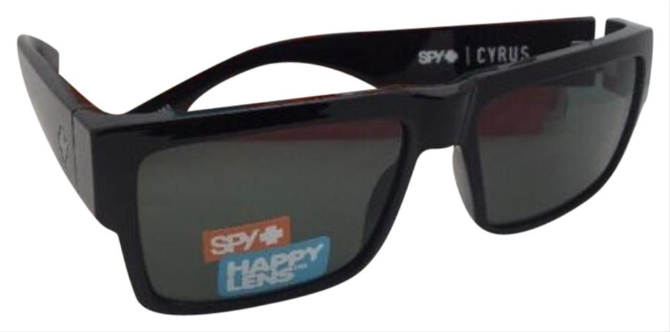 f19155d7a6b84 Spy New SPY OPTIC Sunglasses CYRUS Shiny Black Frame w  Happy Grey-Green  Image ...