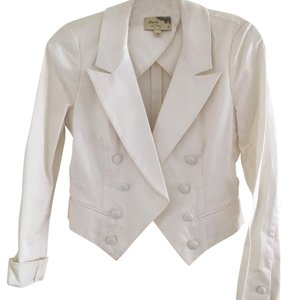 Elizabeth and James Crop Double Breasted White Blazer