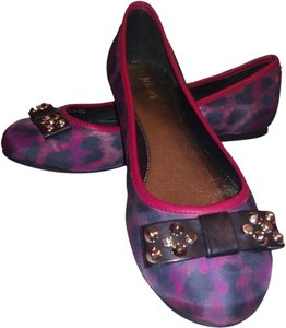 Just Cavalli Bow Tie Studded Ballet Black/Red/Purple Flats