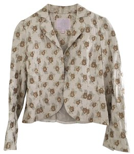 Rebecca Taylor Cream Pattern Brown Blazer