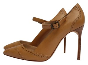 Manolo Blahnik Mary Jane Spectator Tan Leather Pumps