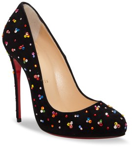 Christian Louboutin Suede Leather Jeweled Black Pumps