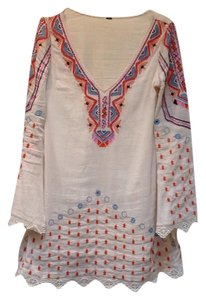 Free People short dress Ivory Lined V-neck Longsleeve Embroidered Beaded on Tradesy