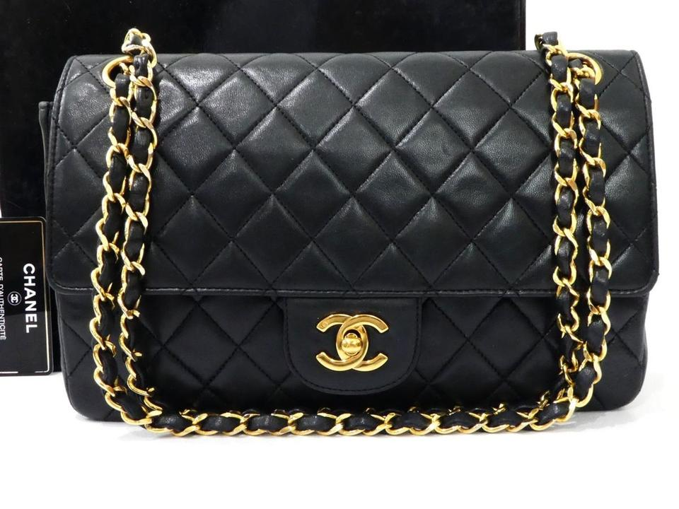 49683668583b Chanel Classic Flap Cc Double Chain Black Lambskin Leather Shoulder ...