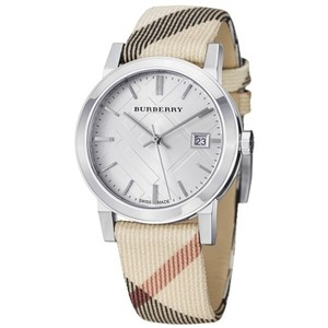 Burberry Burberry The City Nova Check Plaid Leather Silver Steel Watch BU9022