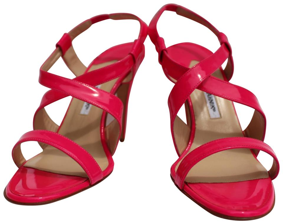 Manolo Hot Blahnik Hot Manolo Pink Tiras Patent Sandals a86eea
