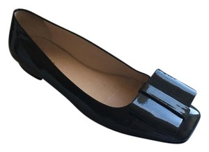 Prada Patent Leather Embellished Square Toe Charcoal Grey Flats