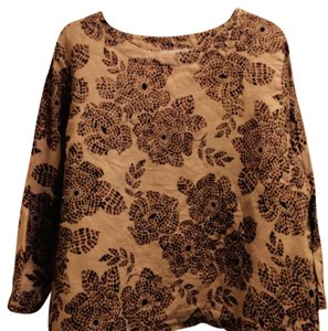 Hot Cotton Tee Shirt Flower Top BEIGE AND BROWN PRINT