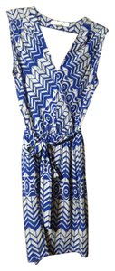 Forever 21 short dress Blue and gray Chevron Nautical Office Lightweight Work on Tradesy