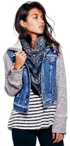 Free People Heather Grey, Denim Blue Jacket