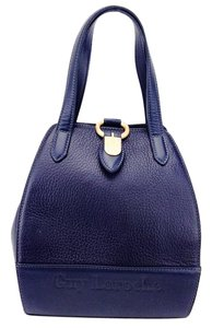 Guy Laroche Pebble Leather Vinrage Gold Handle Satchel in Dark Navy Blue