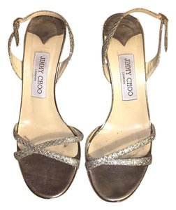 Jimmy Choo Glitter Evening Champagne Glamorous Silver Champagne glitter Formal