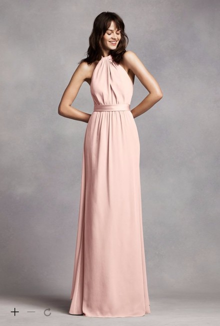 Item - Blush Satin Long V Neck Crepe Gown with Open Back Traditional Bridesmaid/Mob Dress Size 8 (M)