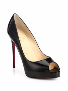 Christian Louboutin Patent Leather Peep Toe Sexy Black Platforms