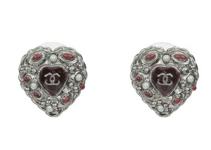 Chanel Authentic Chanel Boucles Oreille Rouge Heart Earrings