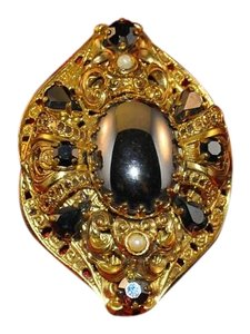 Other Beautiful Vintage Pin Smoky Crystals Faceted Rounds, Tear Drop, Ovals