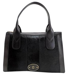 Fossil Vintage Reissue Vintage Revival Top Zip Calf Hair Satchel in Black