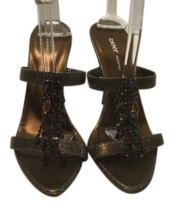 DKNY Stacked Wood Heels Cascade Italian Brown gold metallic all leather waterfall of crystals open toe Mules