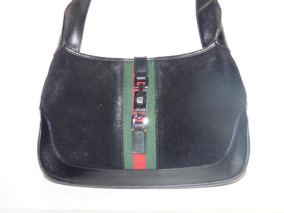 47302d8f63c Gucci Jackie O Chrome Hardware Suede Leather Red Green Excellent Vintage  Hobo Bag Image. 123456789101112