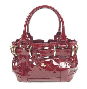 Burberry Patent Leather Manor Gold Tote in Red