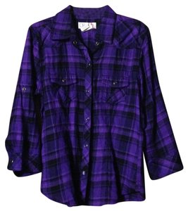 OP Plaid Flannel Snap Shirt Camp Button Down Shirt Purple and black