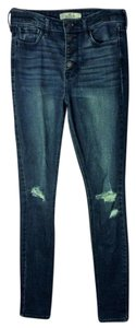 Hollister Ripped Button Up Skinny Jeans-Distressed