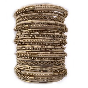 Shop One Twenty Antique Gold Tone Beige Seed Bead Stacking Bangle Bracelet