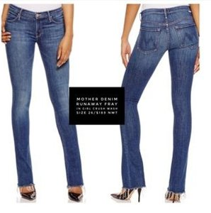 Mother Blue Denim Runaway Flare Leg Jeans-Medium Wash
