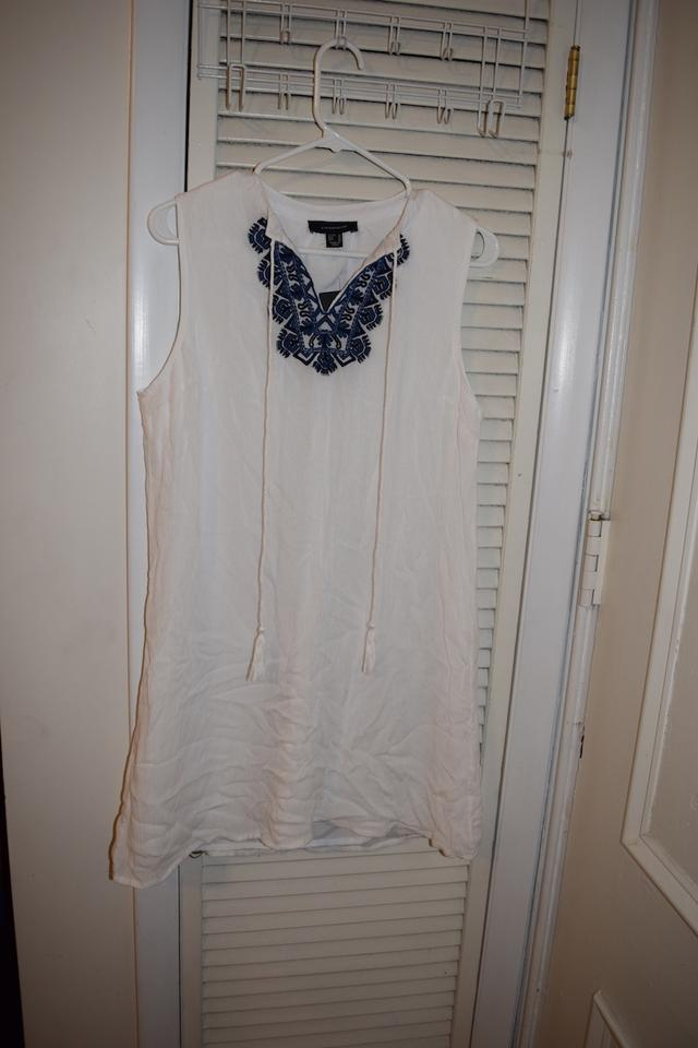 French Atmosphere White Primark   Blue Embroidered Tunic with Tassels Above  Knee Short Casual Dress Size 10 (M) - Tradesy 504ab2bbf