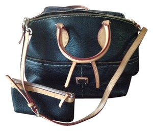 Dooney & Bourke Have Tag Registration Number Satchel in Black with Tan leather