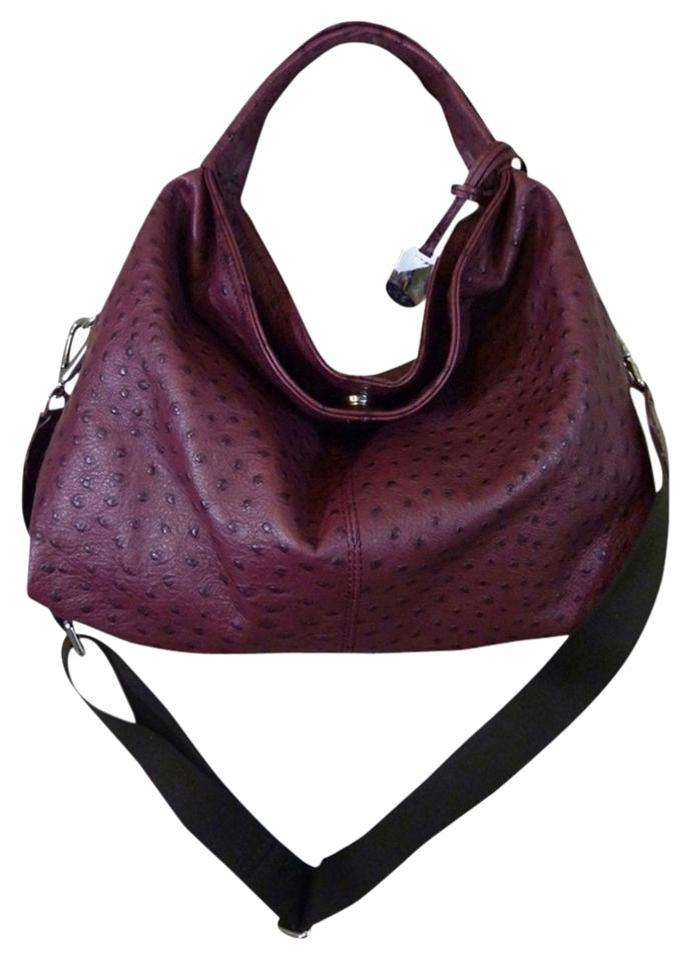 75b34fa5af Furla Ostrich S/M Elisabeth Burgundy Embossed Leather Hobo Bag - Tradesy