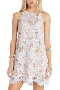 Soprano White White Crochet Eyelash Lace Mini Sleeveless Racer-back Boho Dress Dress