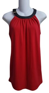 Michael Kors Leather Sleeveless Top Red