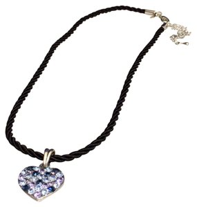 Cookie Lee Cookie Lee Blue Pave Crystal Heart Necklace