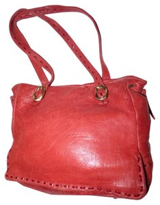 Paolo Masi Timeless Style Lots Of Pockets/Room Mint Condition Tote/Satchel Brass Hardware Satchel in buttery soft red leather